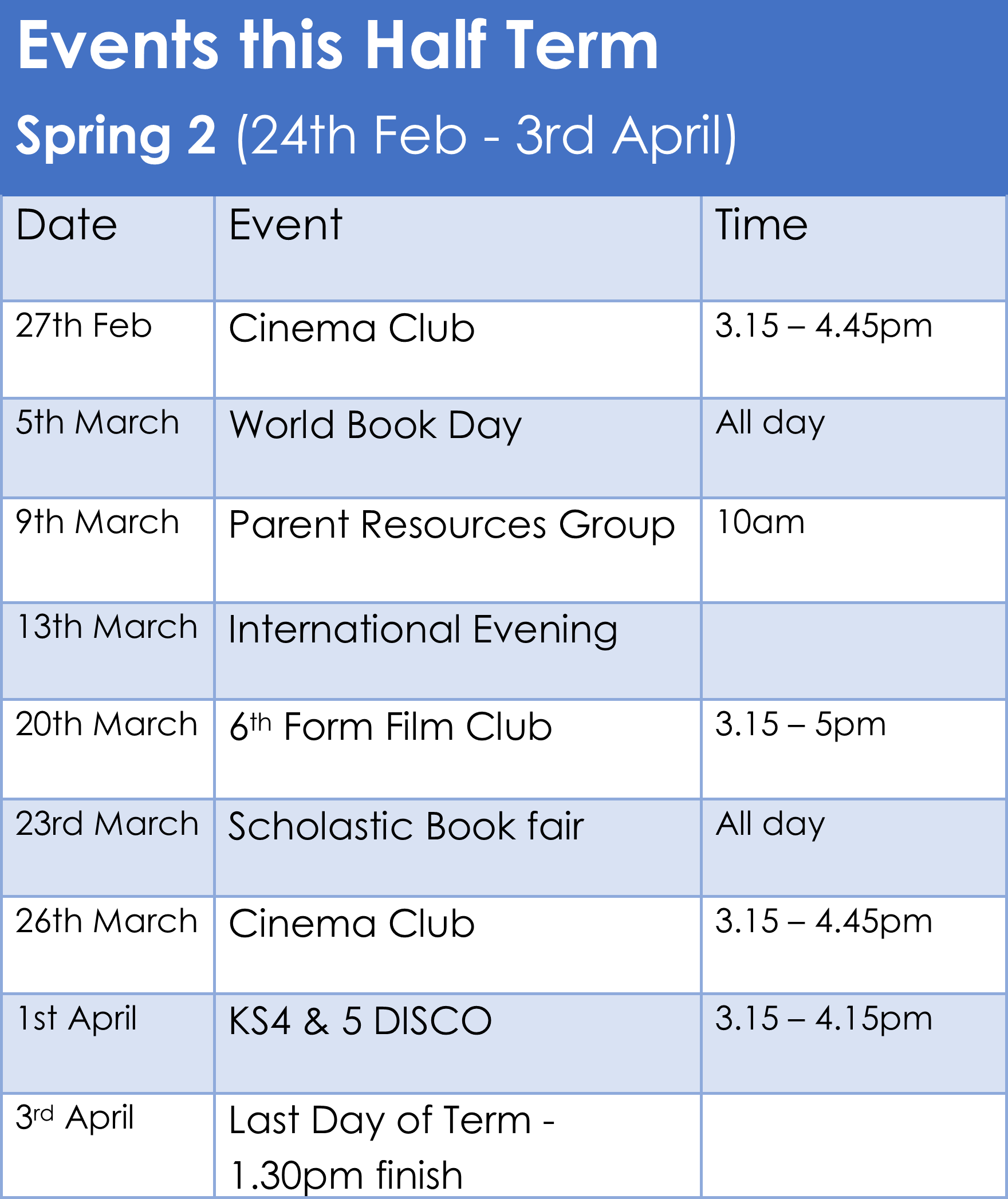 Events - Spring 2 2020